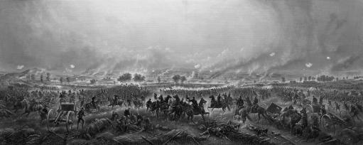 Vintage Civil War Print featuring the Battle of Gettysburg. The famous battle took place in early July 1863 and resulted in the largest number of.