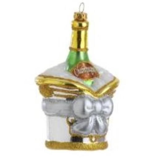 Raz 30790243 5.5 in. Happy Hour Champagne in Ice Bucket Christmas Ornament