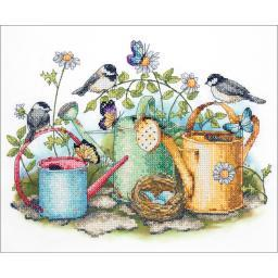 """Watering Cans Stamped Cross Stitch Kit-14""""X11"""" 70-03243"""