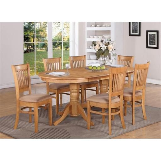 East West Furniture VANC9-OAK-C 9 Piece Dining Table Set For 8 Dining Table With A Leaf and 8 Kitchen Dining Chairs