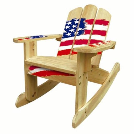 ODM Products Ltd. MM20631 Lohasrus Kids Rocking Chair in Natural Stars and Stripes- MM20631