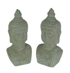 Set of 2 Grey Stone Finish Cement Buddha Bust Bookend Statues