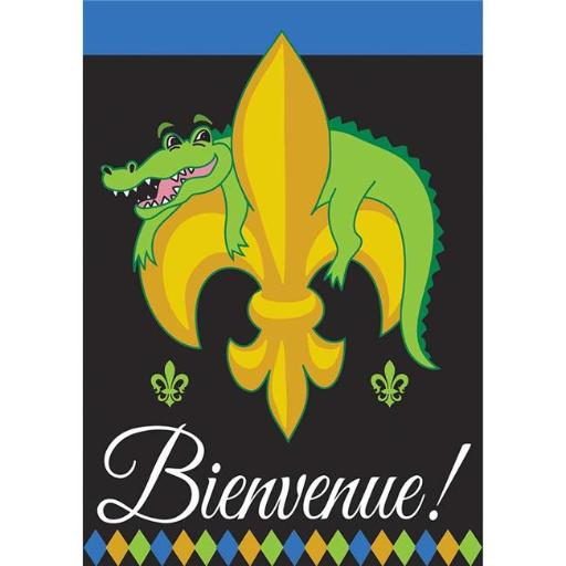 Dicksons 01090 Bienvenue Alligator Fleur de Lis Double Applique Garden Flag