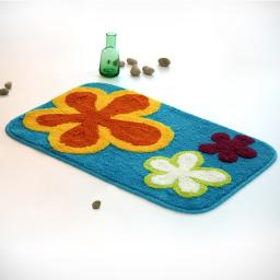Naomi - Dancing Flowers - Royal Blue Kids Room Rugs (19.7 by 31.5 inches)