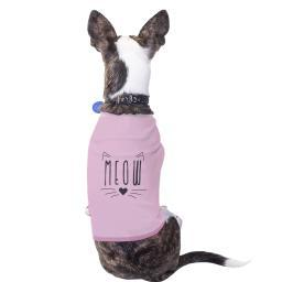 Meow Cotton Pet Shirt Pink Small Dogs Clothes
