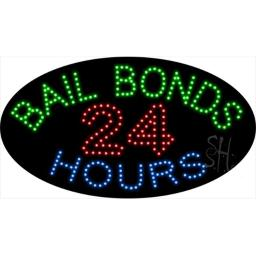 Sign Store L100-1909 Bail Bonds 24 Hours Animated LED Sign, 27 x 15 x 1 In.