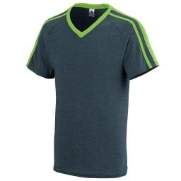 Augusta Sportswear Boys' Get Rowdy Shoulder Stripe Tee S Slate Heather/Lime 364.V41.S