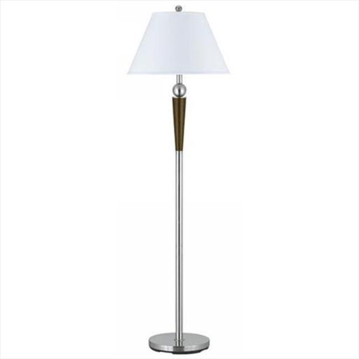 Cal Lighting LA-8005FL-1BS 100 W Metal Floor Lamp With Push Through Switch, Brushed Steel Finish
