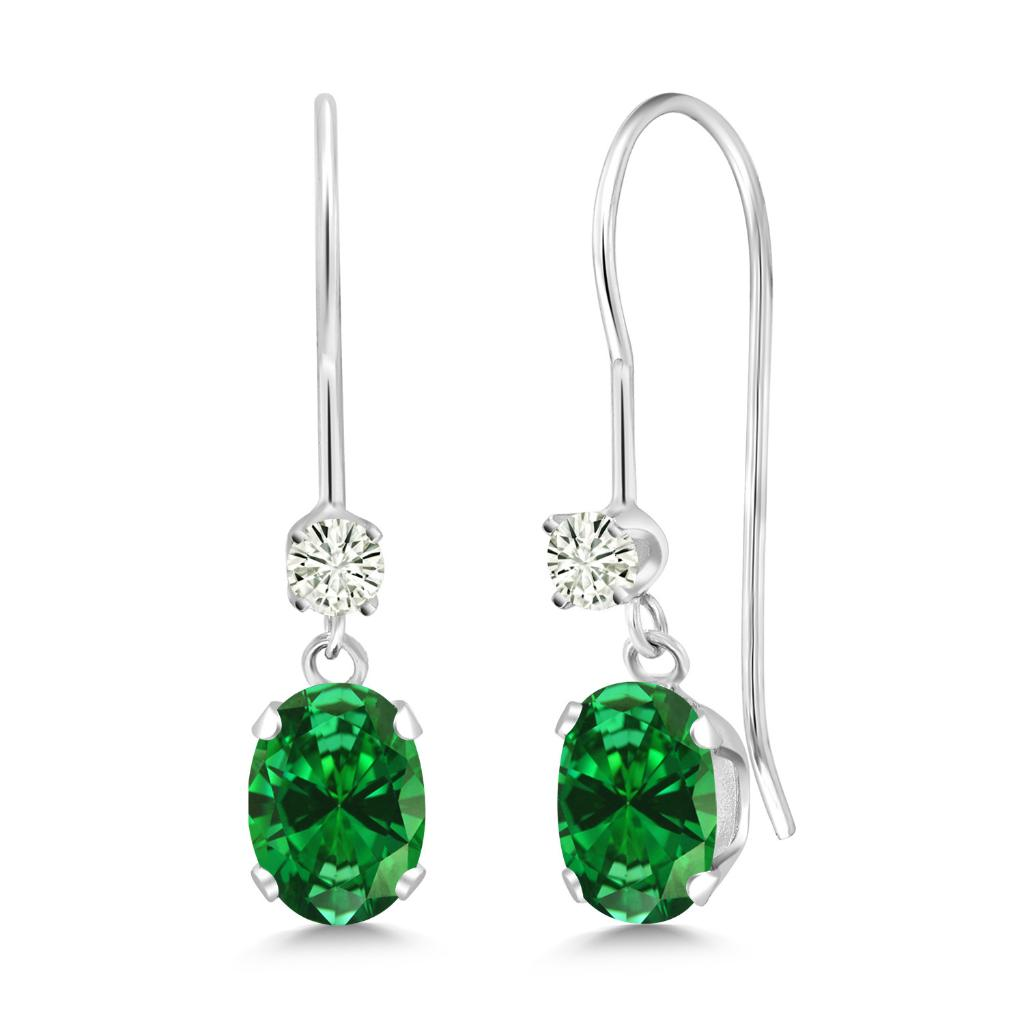 14K White Gold Dangle Earrings Oval Green Created Emerald and Forever Classic Created Moissanite 0.12ct (DEW) by Charles & Colvard