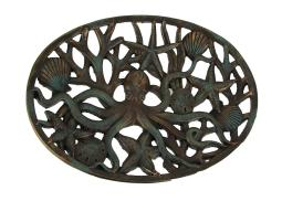 Antique Bronze Octopus and Seashells in Coral Web Coastal Tray or Wall Hanging