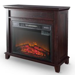 """DELLA 28"""" Portable Electric Infrared Fireplace Mantel Heater Stove for Your Living Room, Wood Finish"""