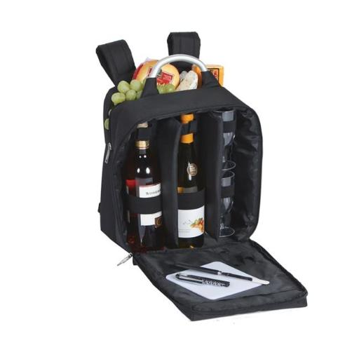 Picnic Plus PSM-234BL Wine and Cheese back pack with thermal foil insulated cooler - Black