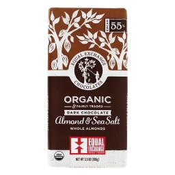 Equal Exchange - Organic & Fairly Traded Dark Chocolate Almond & Sea Salt 55% Cacao - 3.5 oz.
