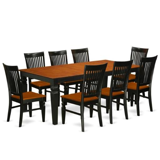 East West Furniture LGWE9-BCH-W Kitchen Table Set with a Dining Table & 8 Wood Seat Dining Chairs, 9 piece - Black & Cherry