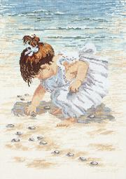"Collecting Shells Counted Cross Stitch Kit-12""X16"" 14 Count 29-0019"