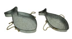 Galvanized Metal Fish Shaped Accent Trays With Rope Handles Set of 2