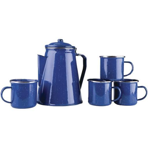 Stansport 11230-03 enamel percolator coffee pot & 4 mug set YAFOARQGH7SY1KIZ