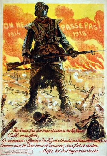 WWI France They Shall Not Pass! 1914. . . 1918. Twice Have I Resisted An Poster Print