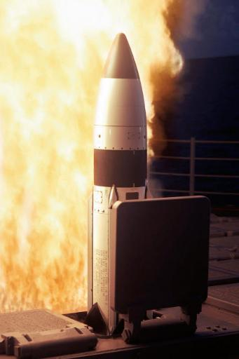 A Standard Missile Three is launched from the vertical launch system aboard USS Lake Erie Poster Print by Stocktrek Images