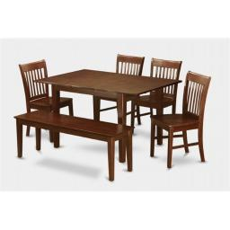 East West Furniture PSNO6C-MAH-W 6 Pc Dining Table 32x60in With 4 Slatted Back Wood Seat Chairs and 52-in Long bench