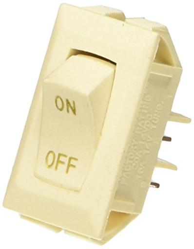 Ivory Rocker Switch W/Gold Text 10 A On/Off - Spst - Cut-Out .550In X 1.125In