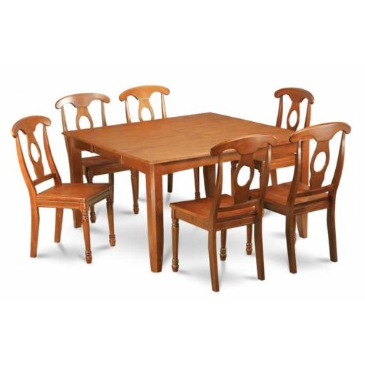 East West Furniture PFNA7-SBR-W 7 Piece Dining Room Table Set-Dinette Table With Leaf and 6 Kitchen Chairs