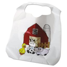 Atlantis Plastics ATL2BBCZF Disposable Childrens Zoo & Farm Pattern Poly Bibs, White - 11 x 15 in.