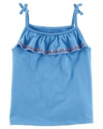 Carter's Baby Girls' Embroidered Criss Cross Top, 24 Months