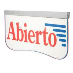Actiontec OPEN450 Acrylic LED Sign - Abierto, Clear & Silver