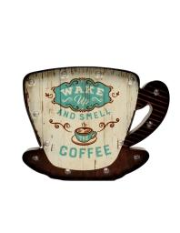 Western Moments Wall Décor Coffee Cup Saucer Lighted Ivory Turq 94012 94012