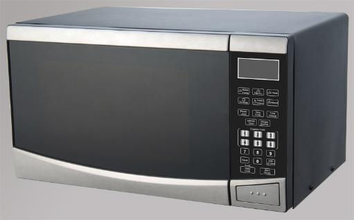 0.9 CF Touch Microwave - Stainless Steel 0.9 CF Capacity 900 Watts of Cooking Power 10 Microwave Cooking Power Digital Touchpad Controls Express Cook Time and Weight Defrost 100 Minute Cooking Timer Cooking End Signal Child Safety Lock Push Button Door Opener Turntable with Glass Tray