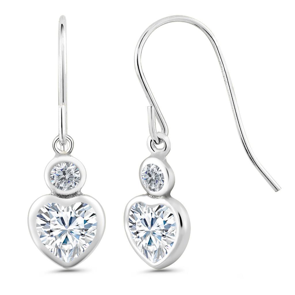 14K White Gold Dangle Lab Grown Diamond Earrings Forever Brilliant (GHI) Heart Shape 1.00ct (DEW) Created Moissanite by Charles & Colvard