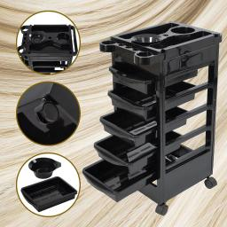 5 Layers Rolling Salon SPA Trolley Storage Cart Coloring Beauty Salon Hair Dryer Holder 12TRL001-5D1T-06