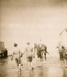 Bathers in Rented Gowns, Horse on the Beach Poster Print BLL058750055LLARGE