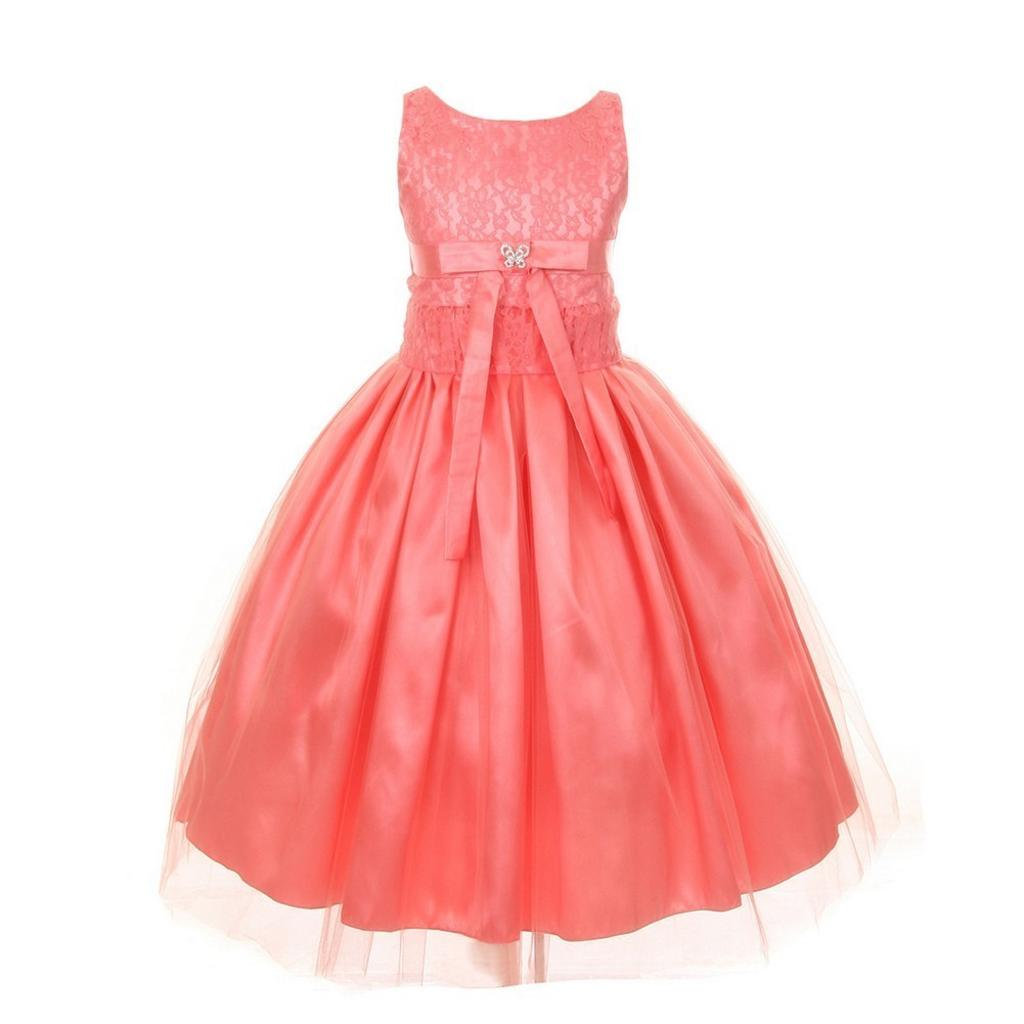 Big Girls Coral Lace Satin Tulle Overlay Special Occasion Dress 8-12