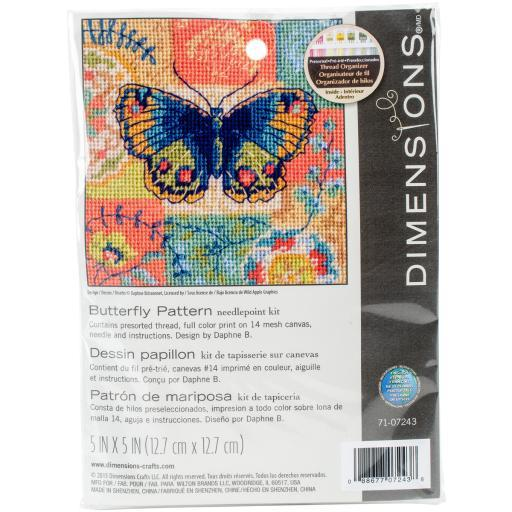 "Butterfly Pattern Mini Needlepoint Kit-5""X5"" Stitched In Thread NKPGCKOWDCSKNUOQ"