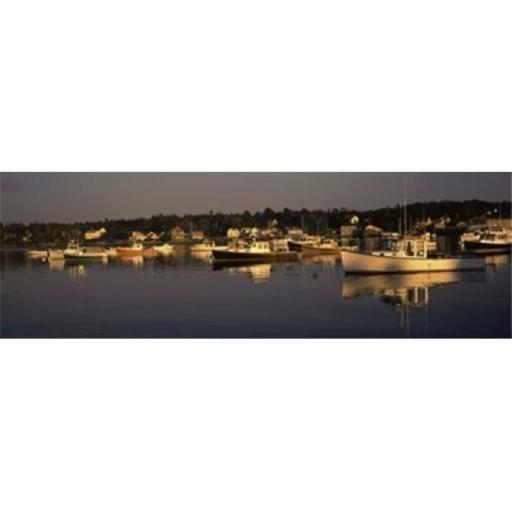 Panoramic Images PPI118753L Boats moored at a harbor Bass Harbor Hancock County Maine USA Poster Print by Panoramic Images - 36 x 12
