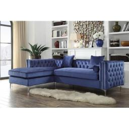 Chic Home FSA2582-US Monet Velvet Modern Contemporary Button Tufted with Silver Nailhead Trim Silvertone Metal Y-Leg Left Facing Sectional Sofa, Navy