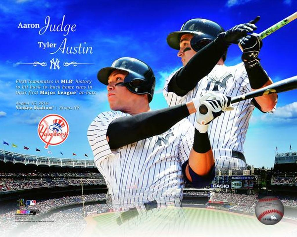 Aaron Judge & Tyler Austin first teammates in MLB history to hit back to back home runs in their first major league at bats Photo Print