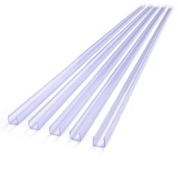 "DELight 20Pcs 39 3/8"" x 1/2"" Clear PVC Channel Mounting Holder Acc for Flex LED Neon Rope Light 65' Total Length"