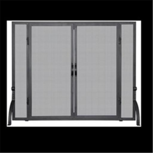 Uniflame S-1044 SINGLE PANEL BLACK WROUGHT IRON SCREEN WITH DOORS, MEDIUM