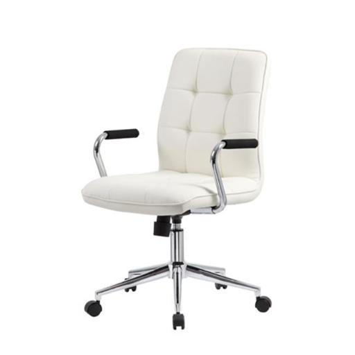 Modern Office Chair with Chrome Arms, White