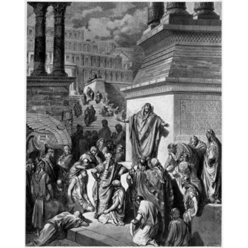 Posterazzi SAL9001210 Jonah Telling of Ninevehs Coming Vanquishment Gustave Dore 1832-1883 French Engraving Poster Print - 18 x 24 in.