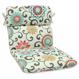 Pillow Perfect 543604 Pom Pom Play Peachtini Rounded Corners Chair Cushion