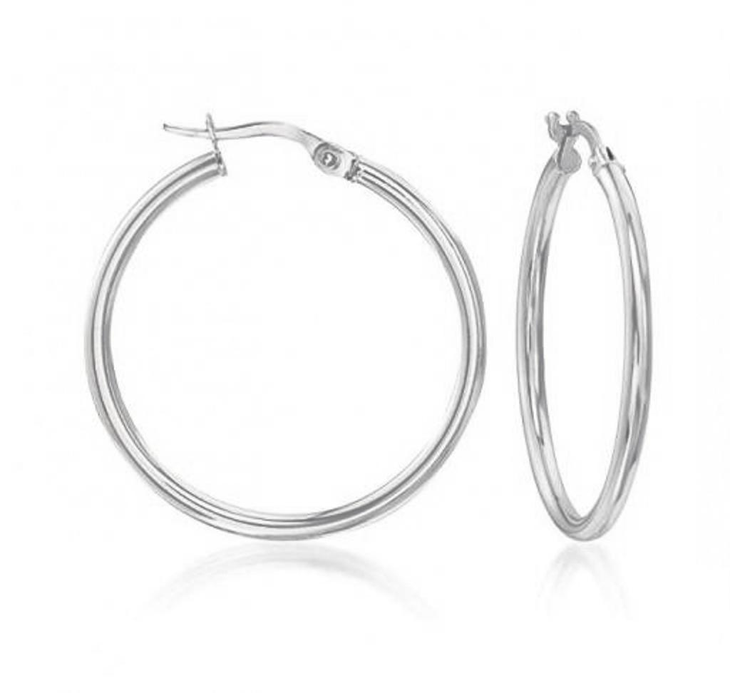 Sterling Silver French Lock Hoops 15mm