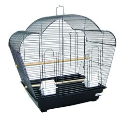 """YML 1954 1/2"""" Bar Spacing Shell Top Small Bird Cage - 20""""x16"""" In Black"""