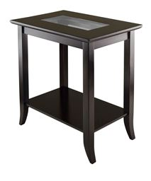 Winsome Genoa Solid Wood Rectangular End Table with Glass Top and Shelf, Dark Espresso