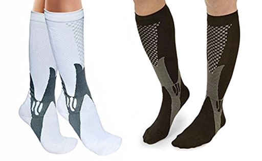 2 Pack 10 Point Compression Socks - Sport Promores Blood Circulation. (Black & White set) 495787ECE7BC3335