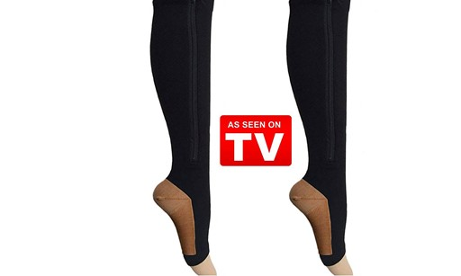 Pure Acoustics Black Copper Compression Socks with Zipper As Seen on TV 20-25 mmHg Open Toe (L/XL)