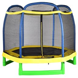 7 ft Youth Round Bounce Jump Trampoline with Safety Net